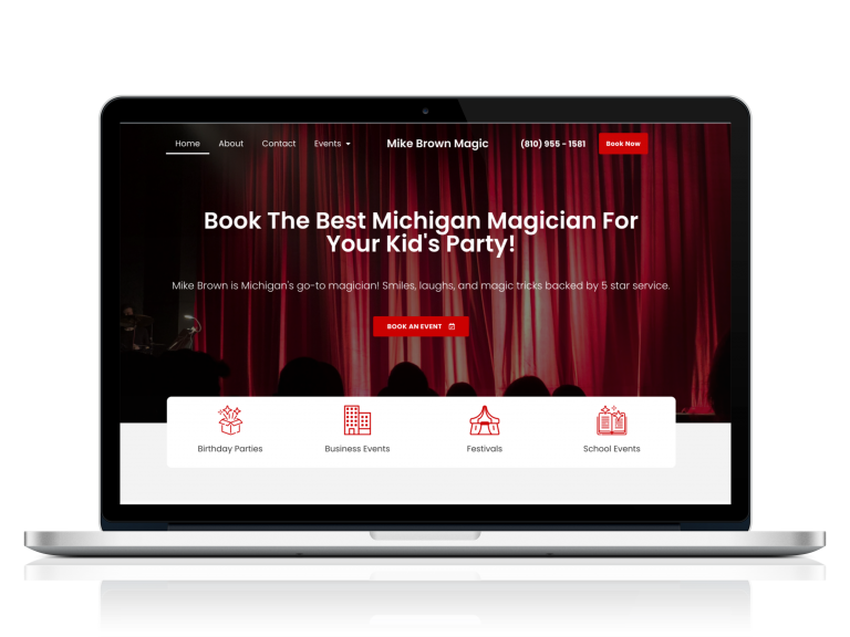 New mikebrownmagic.com website pictured on a mac screen. Magician web design by Sapphire Site Design.