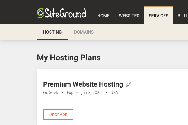 Screenshot of SiteGround hosting user dashboard