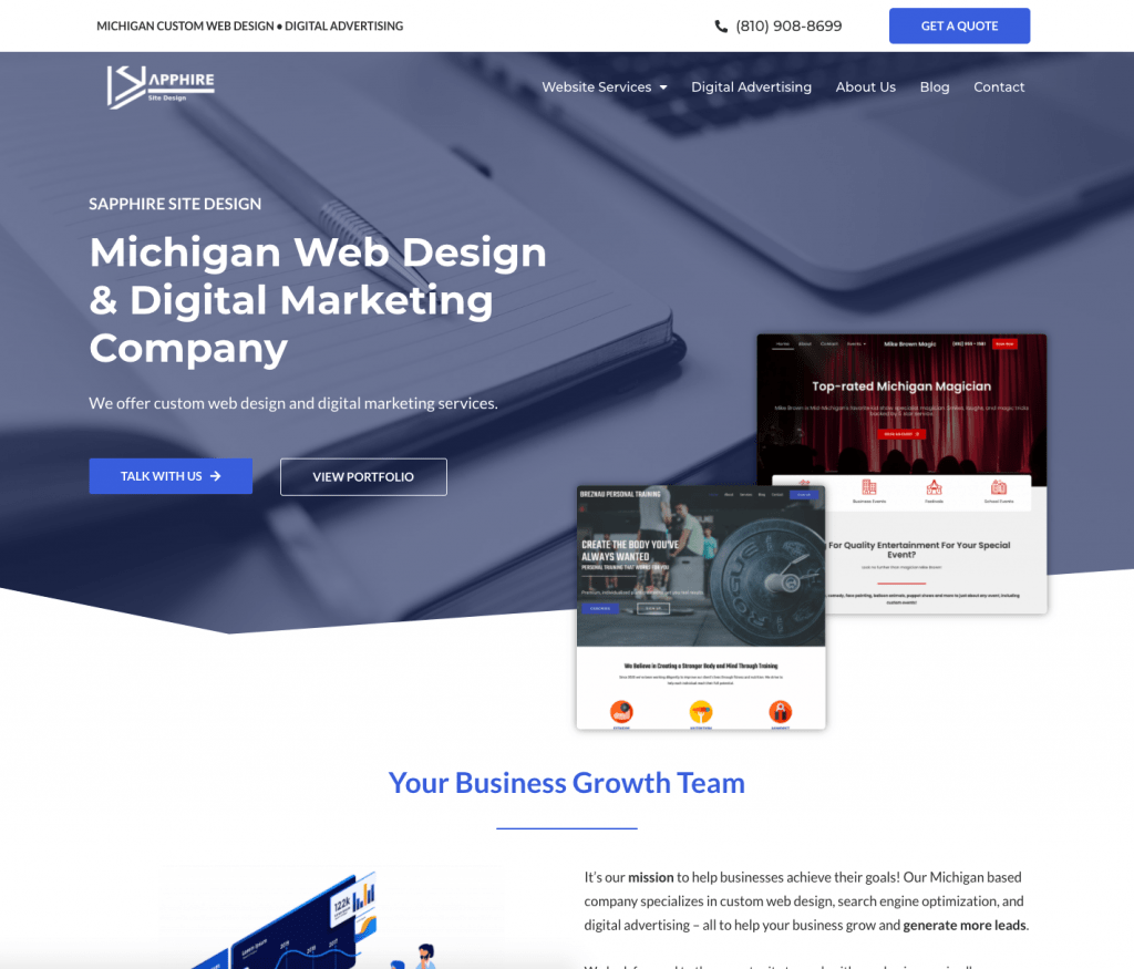 Screenshot of sapphiresitedesign.com - Detroit web design specialists.