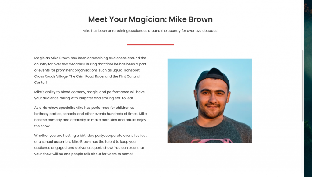 About page of Mike Brown, Michigan based magician.
