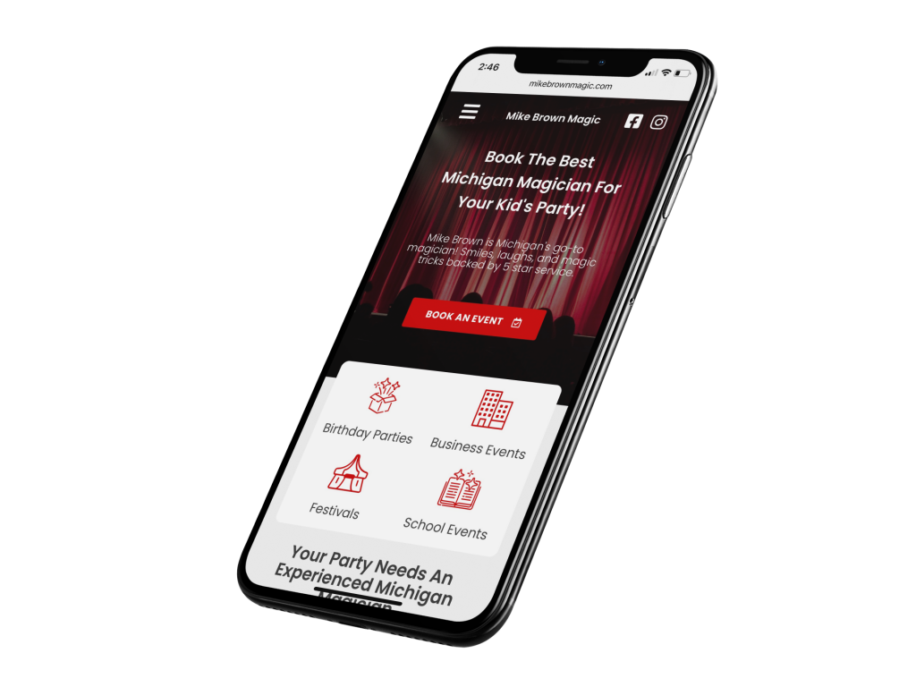 Mike brown magic website pictured on iPhone 11 screen, magician web design by Sapphire Site Design.